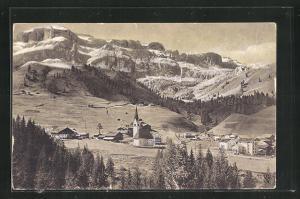 AK Arabba in Buchenstein, Ortsansicht gegen Boe & Dolomitenstrasse