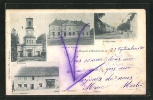 AK La Chapelle st Rougemont, Grande Rue, L'Eglise, Café Clément