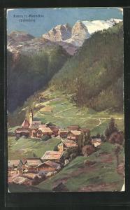 AK Buchenstein, Andraz, Blick auf Kirche, Häuser und Dolomiten