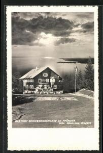 AK Lochau, Gasthof Schwedenschanze am Pfänder, dramatisches Licht über dem Wasser