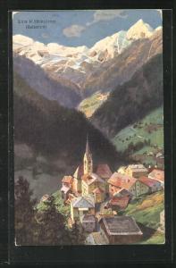 AK Pieve di Livinallongo, Totalansicht mit Kirche, Häuser und Dolomiten