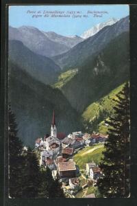 AK Pieve di Livinallongo, Buchenstein gegen die Marmolata, Kirche und Häuser