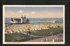 AK Swinemünde, Blick auf den Strand mit Seebrücke