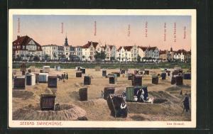 AK Swinemünde, Strandkörbe, Seeschloss, Dünenschloss, Schloss am Meer, Hohenstaufen