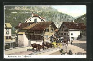 AK Andermatt, Abfahrt der Furka-Postkutsche