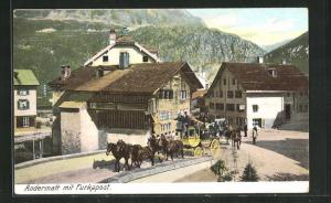 AK Andermatt, Furka-Postkutsche bei der Abfahrt