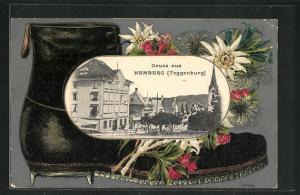 Passepartout-Lithographie Hemberg, Strassenpartie mit Blick zur Kirche, Bergsteigerstiefel
