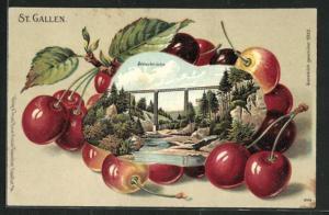 Passepartout-Lithographie St. Gallen, Ansicht der Sitterbrücke auf Kirschen