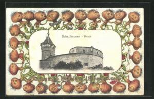 Passepartout-Lithographie Schaffhausen, Blick auf Burg Munot, gerahmt von Zwiebeln