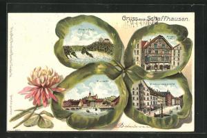 Passepartout-Lithographie Schaffhausen, Ansichten auf Kleeblatt, Frohnwaagplatz, Ritterhaus, Rheinfall