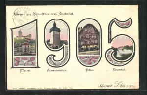 AK Schaffhausen, Teilansichten in der Jahreszahl 1905, Schwabenthor, Rheinfall