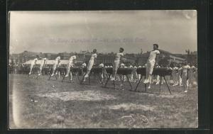 Foto-AK Genf, 58. Eidg. Turnfest 1925, Vorführung am Pauschenpferd