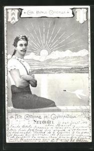 AK Neuchatel, Fete Cantonale de Gymnastique 1902, Turner sitzt auf einer Mauer