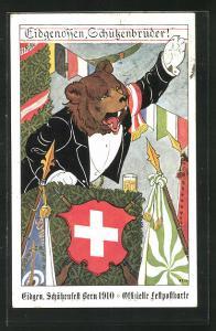 Künstler-AK Bern, Eidgenössisches Schützenfest 1910, Bär auf der Kanzel hält eine Rede
