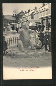 AK La Chaux-de-Fonds, Hiver 1907, L`Ours de Neige, Eisplastik