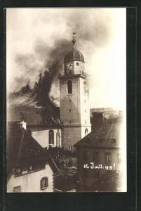 Foto-AK Lausanne, Turm in Brand