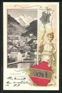 Präge-Passepartout-Lithographie Interlaken, Teilansicht mit der Jungfrau, Frau mit Wappen