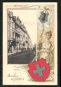 Präge-Passepartout-Lithographie Basel, Freie Strasse, Frau mit Wappen
