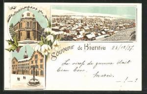 Winter-Lithographie Bienne, Ortsansicht, Rathaus mit Brunnen, Ortspartie