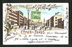Winter-Lithographie La Chaux-de-Fonds, Rue Leopold Robert, Strassenpartie