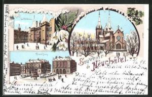 Winter-Lithographie Neuchatel, Le Chateau, Place Pury, L`Eglise
