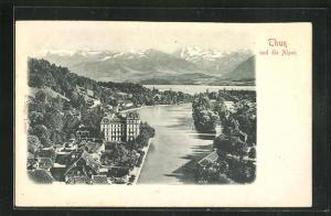 Relief-AK Thun, Teilansicht und die Alpen