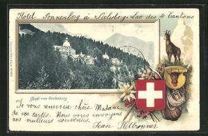 Passepartout-Lithographie Seelisberg, Teilansicht und Gams mit Wappen