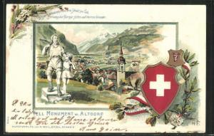 Präge-Passepartout-Lithographie Altdorf, Tell Monument und Wappen