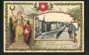 Präge-Passepartout-Lithographie Zürich, Limmatquai, Helvetia mit Wappen und Kranz