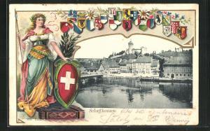 Passepartout-Lithographie Schaffhausen, Teilansicht, Helvetia mit Wappen