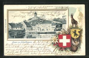 Präge-Passepartout-Lithographie Schaffhausen, Teilansicht mit Brücke, Gams und Wappen