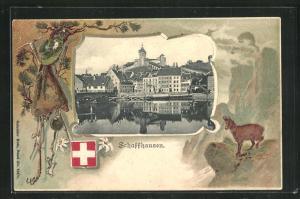Präge-Passepartout-Lithographie Schaffhausen, Teilansicht und Steinbock auf einem Felsen