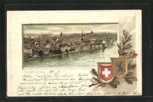Präge-Passepartout-Lithographie Schaffhausen, Teilansicht und Wappen