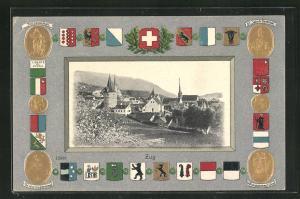 Präge-Passepartout-Lithographie Zug, Gesamtansicht und Wappen, Tellenkmal, Winkelrieddenkmal, St. Jakob-Denkmal