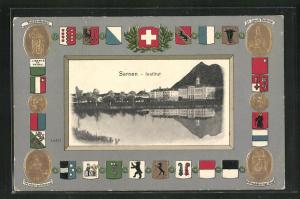Präge-Passepartout-Lithographie Sarnen, Institut und Wappen, Tellenkmal, Winkelrieddenkmal, St. Jakob-Denkmal