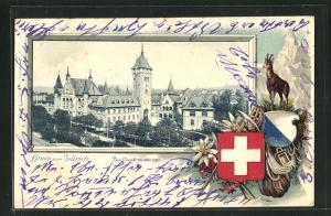 Präge-Passepartout-Lithographie Zürich, Das Landesmuseum, Gamsbock und Wappen