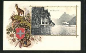 Präge-Passepartout-Lithographie Sisikon, Tellskapelle, Gamsbock und Wappen