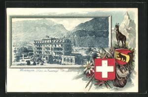 Präge-Passepartout-Lithographie Meiringen, Hotel du Sauvage, Gamsbock und Wappen