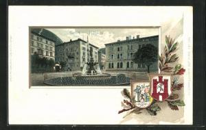 Präge-Passepartout-Lithographie Chur, Postplatz mit Brunnen, Wappen