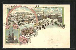 Winter-Lithographie St. Gallen, Hechtplatz, Unionbank, Stiftskirche