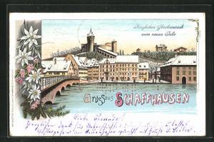 Winter-Lithographie Schaffhausen, Teilansicht mit Brücke, Neujahrsgruss