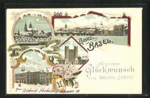 Winter-Lithographie Basel, Teilansicht, Rathausplatz, Das Spalentor, Neujahrsgruss