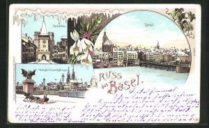 Winter-Lithographie Basel, Teilansicht, Spalentor, Wettsteinbrücke & Münster