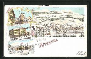 Winter-Lithographie Appenzell, Hotel Hecht, Hotel & Kurhaus Weissbad, Schloss