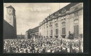 AK St. Gallen, Eidg. Turnfest 1922, Festzug am Bahnhof