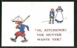 AK Kleiner englischer Krieger wird von seiner Mutter gerufen