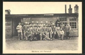 AK Sprottau, Kriegsgefangenenlager, Bäckerei mit Personal