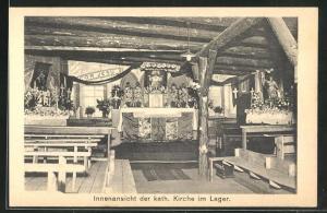 AK Sprottau, Kriegsgefangenenlager, Innenansicht der kath. Kirche im Lager