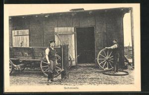 AK Sprottau, Kriegsgefangene vor Schmiede