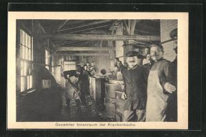 AK Sprottau, Gesamter Innenraum der Krankenküche mit Kriegsgefangenen